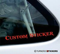 2x Small Custom text / Name , vinyl stickers red or Choose COLOUR & FONT