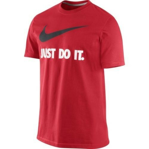 Men 39 s size xl nike big swoosh just do it t shirt red white for Black white red t shirt