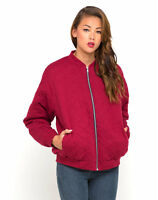 MOTEL ROCKS Quilted Bomber Jacket in Maroon (mr59)