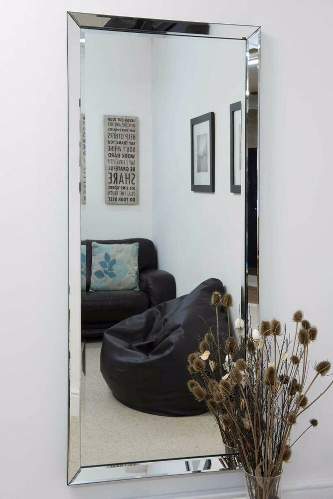 Large Modern Frameless Wall Mounted Mirror Rectangle 5ft10