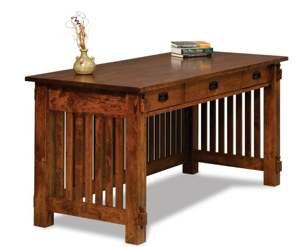 Amish mission craftsman arts crafts writing desk solid for Solid wood furniture