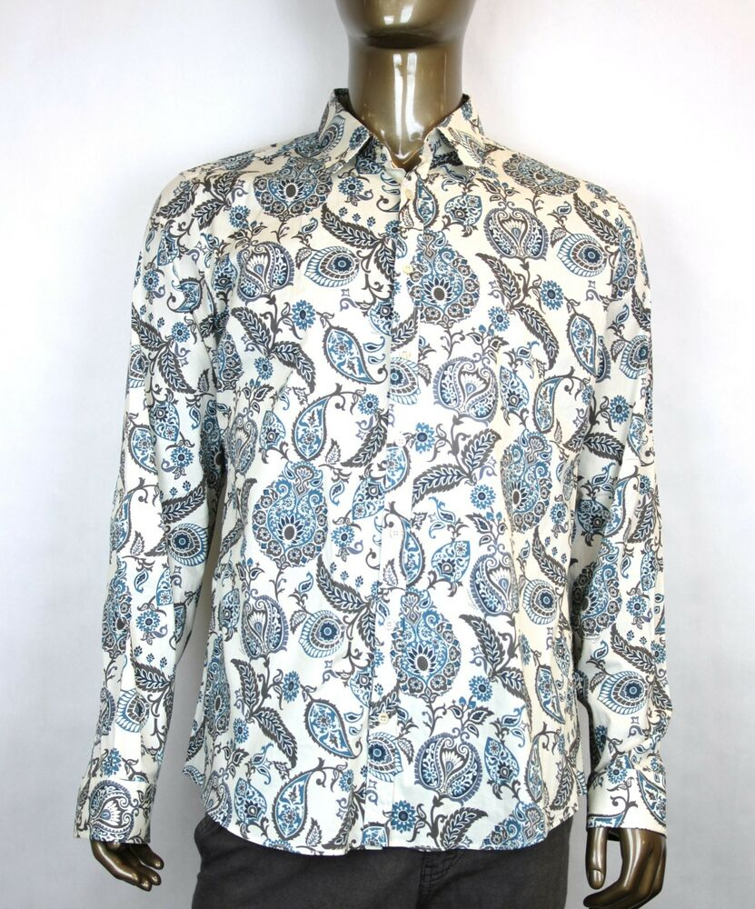 New authentic gucci mens floral dress shirt slim white for Mens white floral shirt