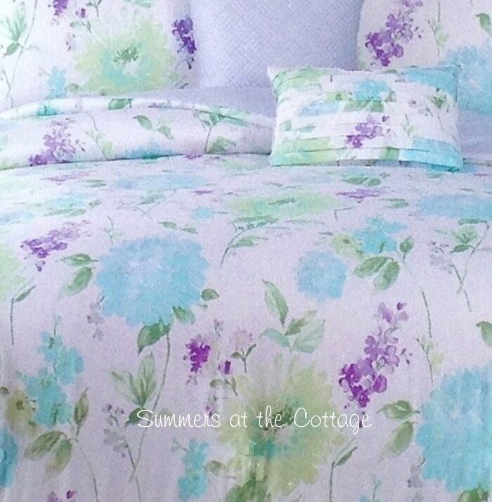 Aqua Blue Lavender Flowers King Duvet Comforter Cover Set