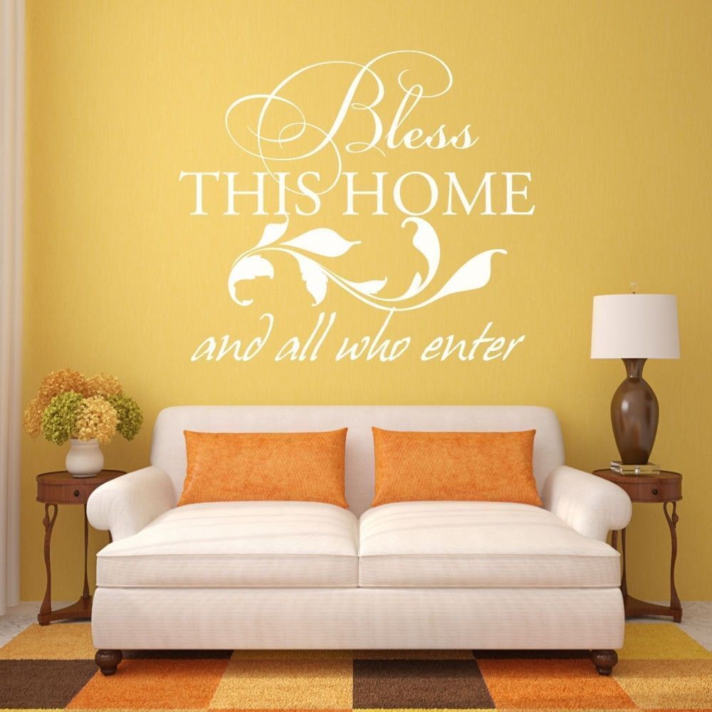 Bless This Home Bible Wall Decal Family Welcome Entryway Saying ...