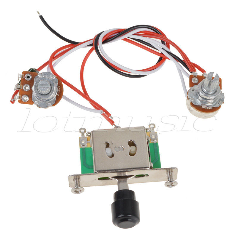 3 way toggle switch 250k pots knobs wiring harness prewired for tl guitar ebay. Black Bedroom Furniture Sets. Home Design Ideas
