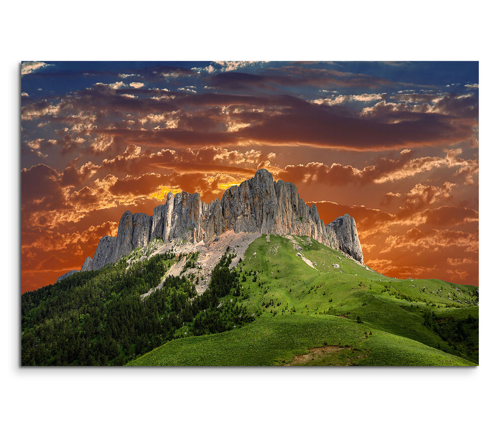 leinwandbild 120x80cm auf keilrahmen kaukasus berg sonnenuntergang h gel wolken ebay. Black Bedroom Furniture Sets. Home Design Ideas