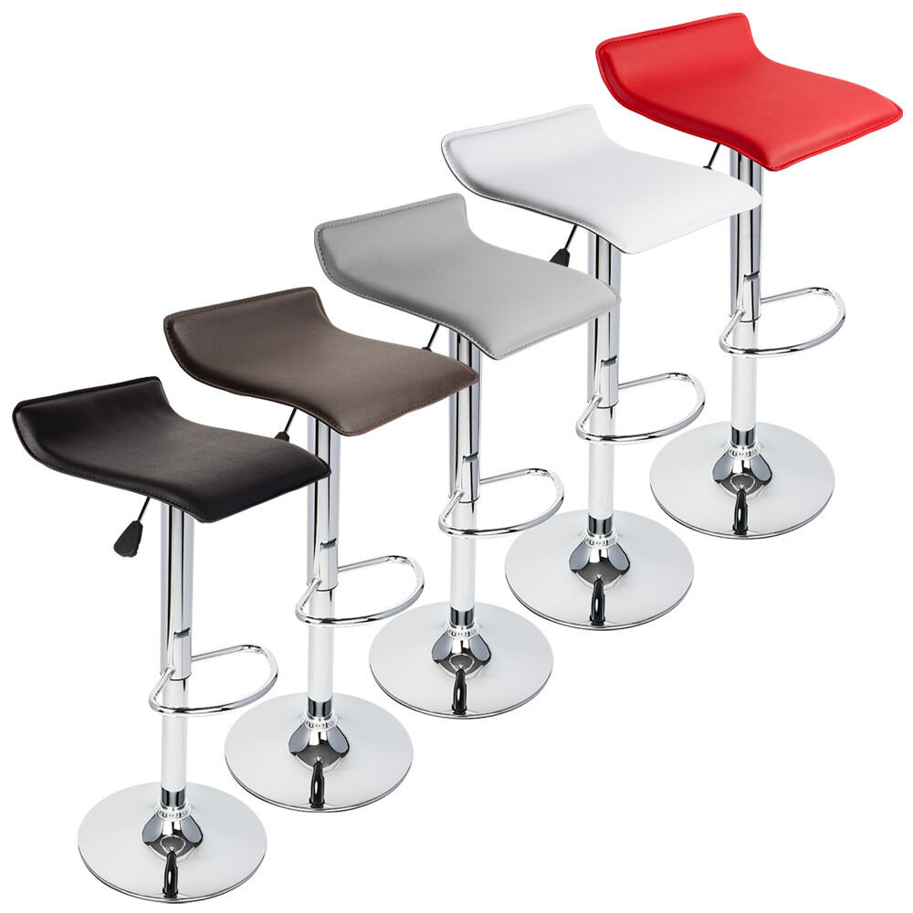 Set Of 2 Modern Bar Stools Low Profile Swivel Dinning
