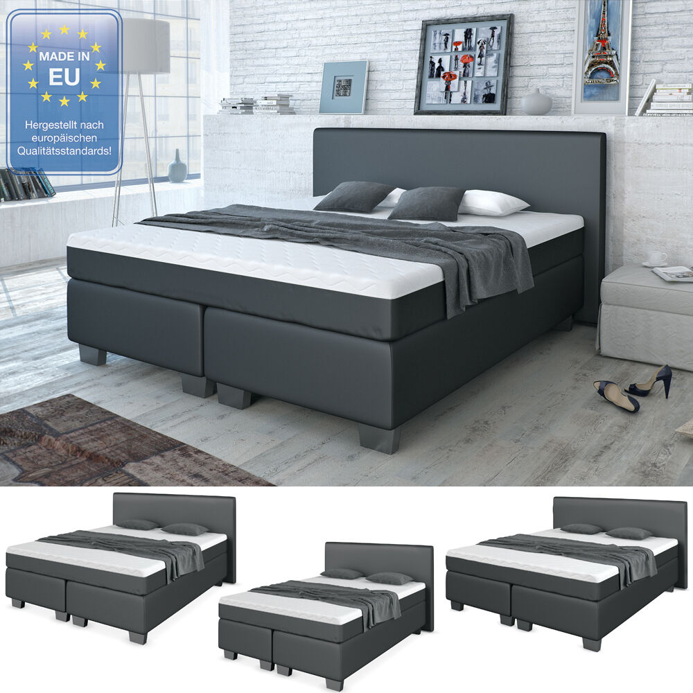 design boxspringbett bett hotelbett ehebett doppelbett schwarz 140 160 180 cm ebay. Black Bedroom Furniture Sets. Home Design Ideas
