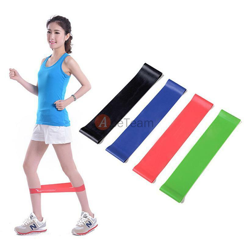 Set Of 4 Exercise Ankle Resistance Loop Bands Elastic