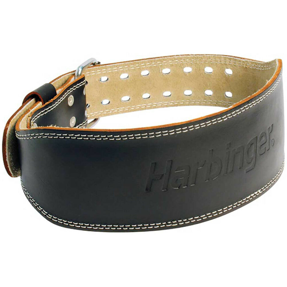 harbinger 4 quot padded leather weight lifting belt ebay