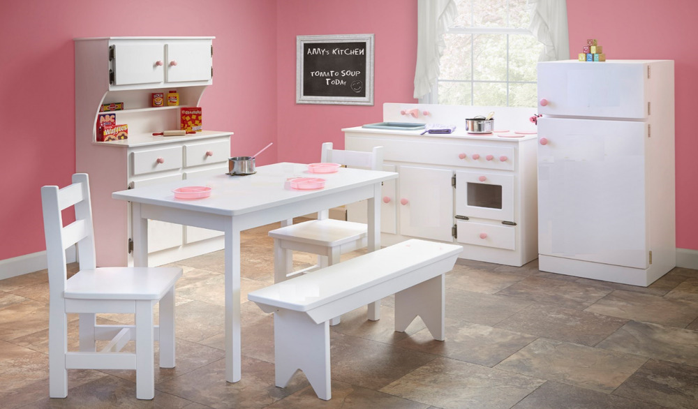 Kitchen play set refrigerator hutch sink stove table for Play kitchen table