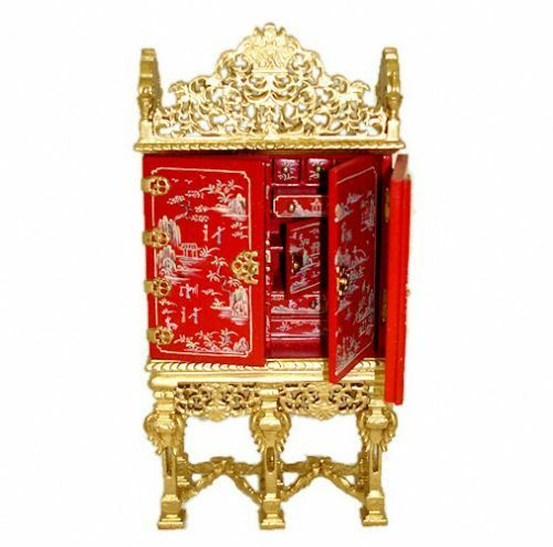 Bespaq Gilded Grand Estate Red Asian Gibbons Cabinet