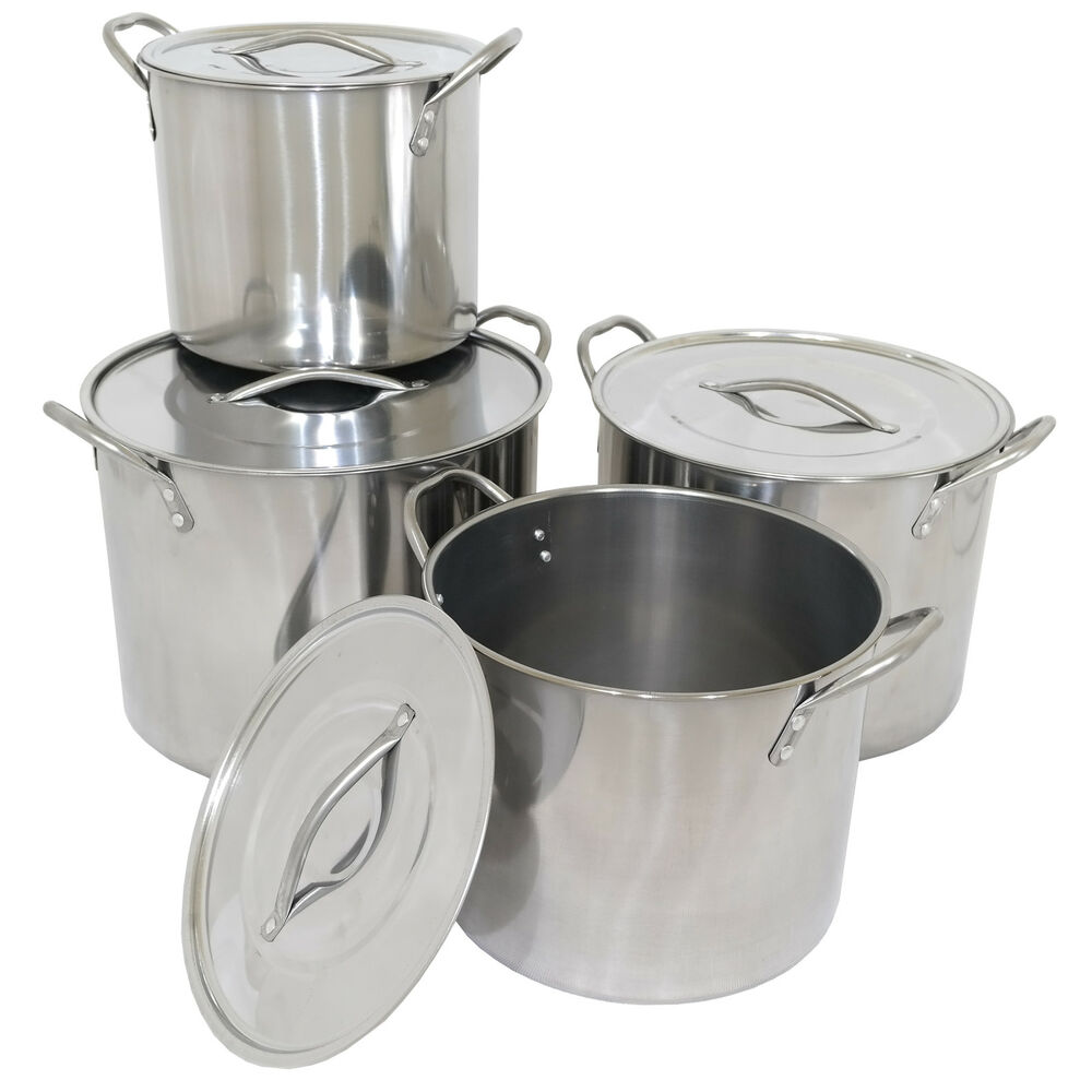 Set Of 4 Stainless Steel Stock Pots Cooking Boiling Pans