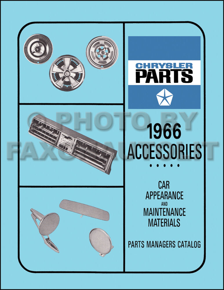 1966 Dodge Accessories Parts Book Charger Coronet Dart