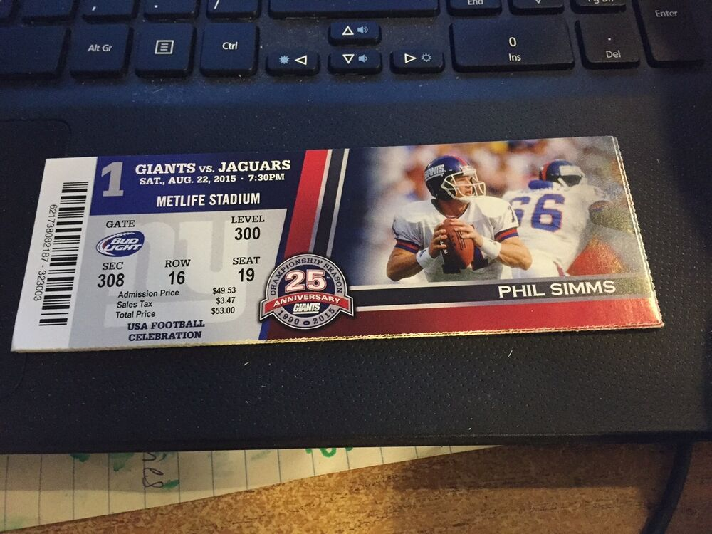 2015 new york giants vs jacksonville jaguars nfl ticket stub 8 22 phil. Cars Review. Best American Auto & Cars Review