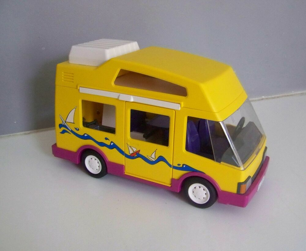 playmobil 2301 vehicules camping car jaune 3945 complet ebay. Black Bedroom Furniture Sets. Home Design Ideas