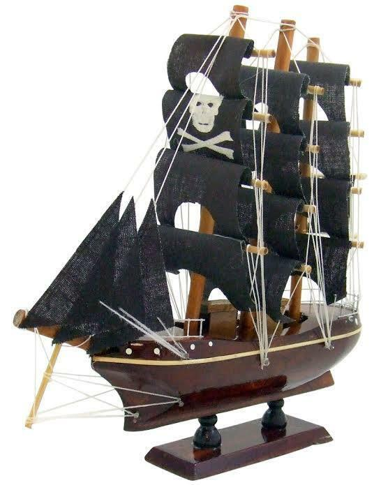 Model pirate ship 8 inches long handmade wooden boat for Ship decor home