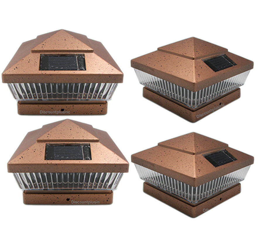 4 Pack 6x6 Copper PVC Outdoor Garden Solar Post Deck Cap