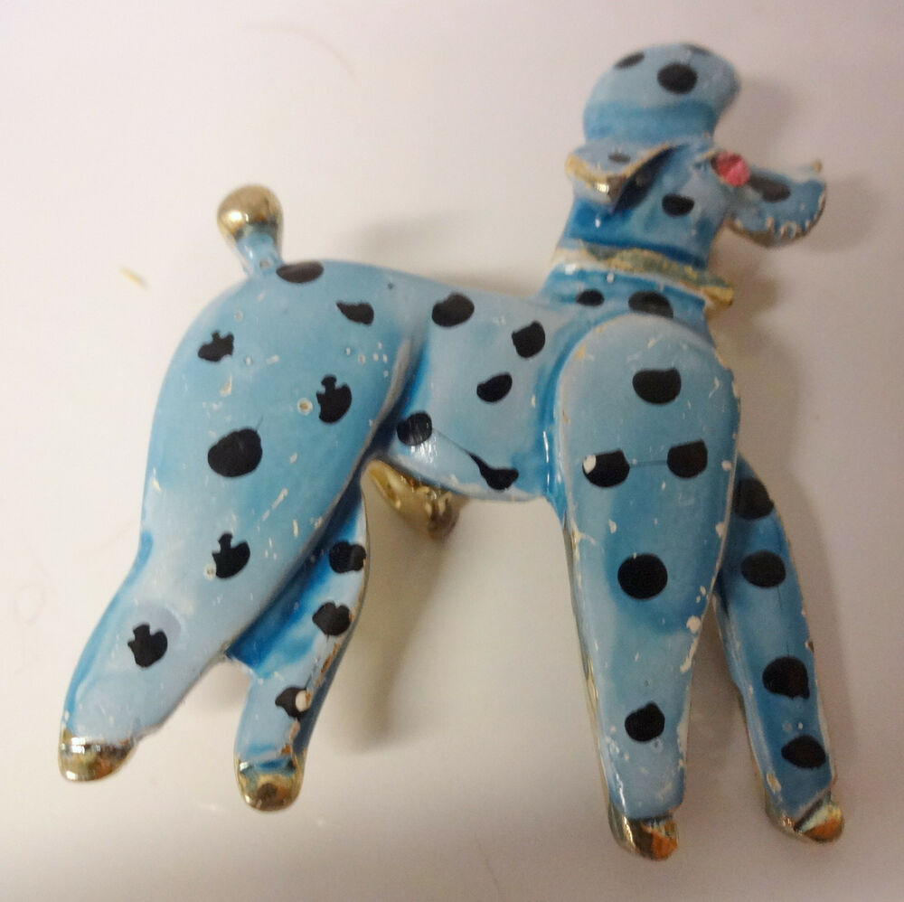vintage signed weiss rhinestone eyes polka dots enamel dog. Black Bedroom Furniture Sets. Home Design Ideas