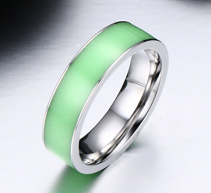 Glow in the dark couple ring titanium steel wedding band for Glow in the dark wedding rings