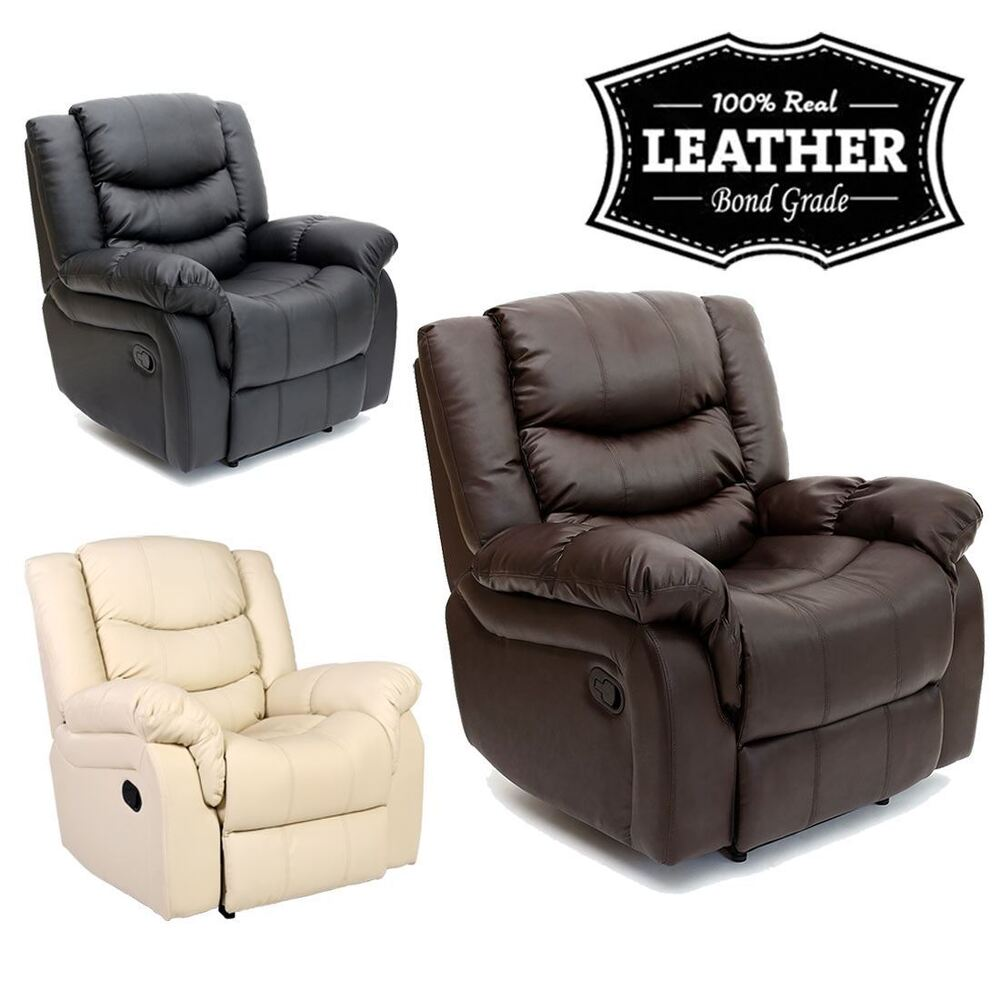 SEATTLE LEATHER RECLINER ARMCHAIR SOFA HOME LOUNGE CHAIR ...