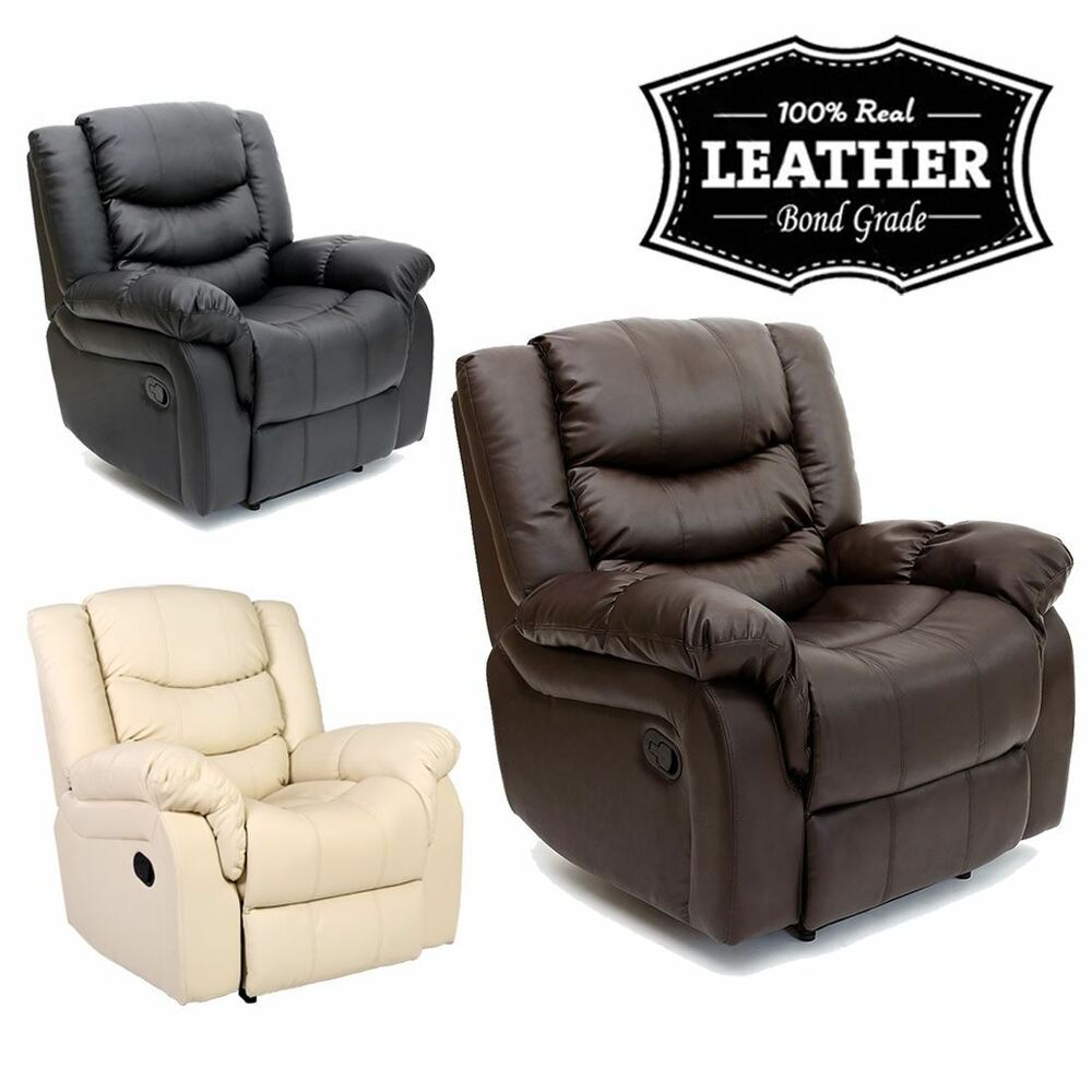 Seattle Leather Recliner Armchair Sofa Home Lounge Chair