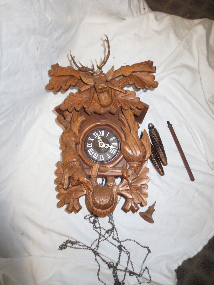 Vintage Cuckoo Clock Black Forest Large Stags Head Amp Game