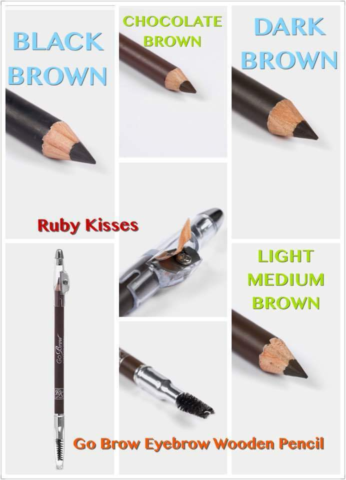 Ruby Kisses Go Brow Eyebrow Wooden Pencil With Pencil