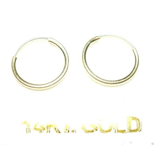3 PAIRS 14Kt PURE SOLID WHITE GOLD Thin Small 10MM Endless Hoop Earrings