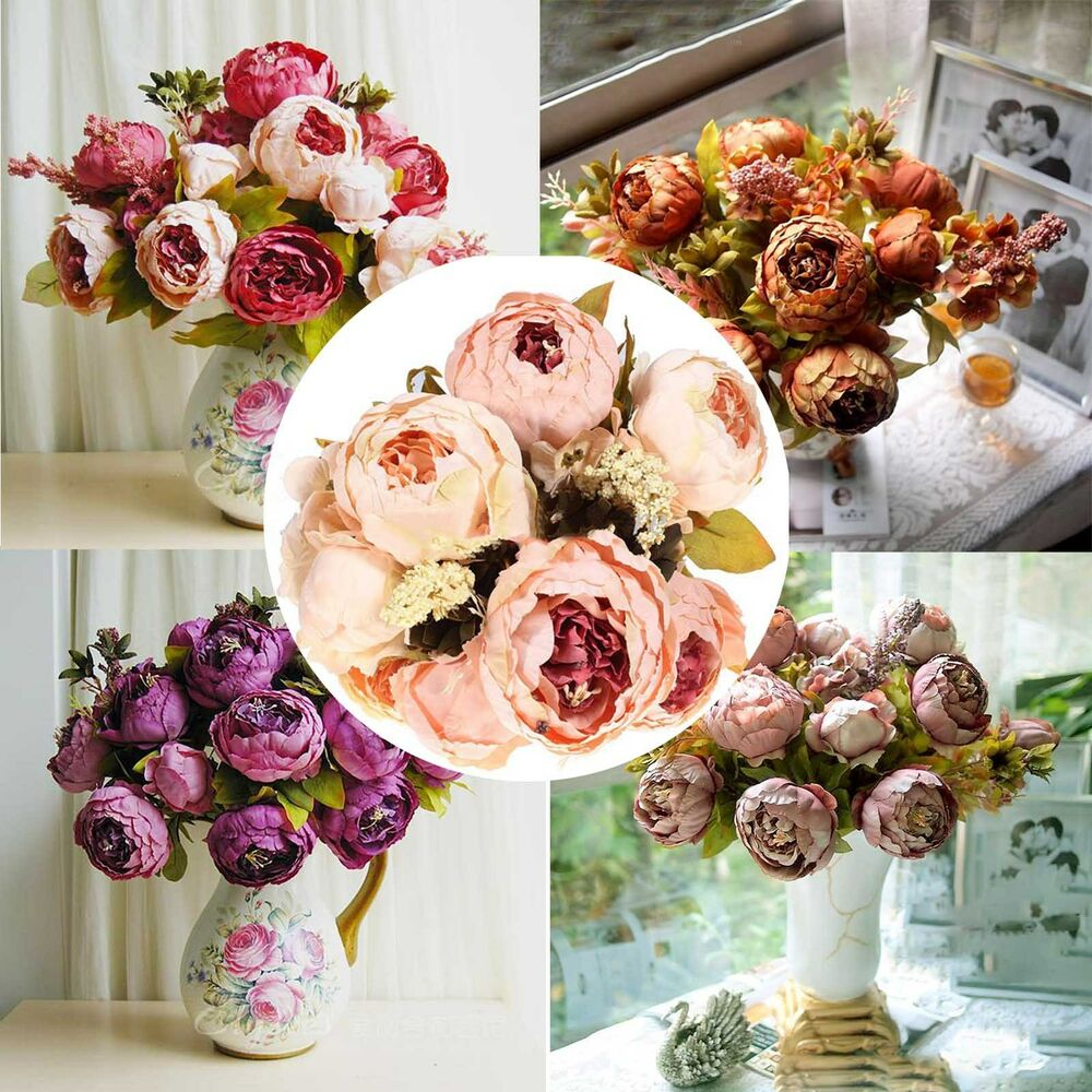 artificial peony fake silk flowers bouquet party wedding desk decor