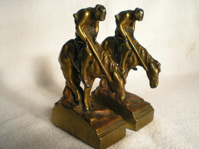 Antique armor bronze bookends end of the trail electroformed free shipping ebay - Armor bronze bookends ...
