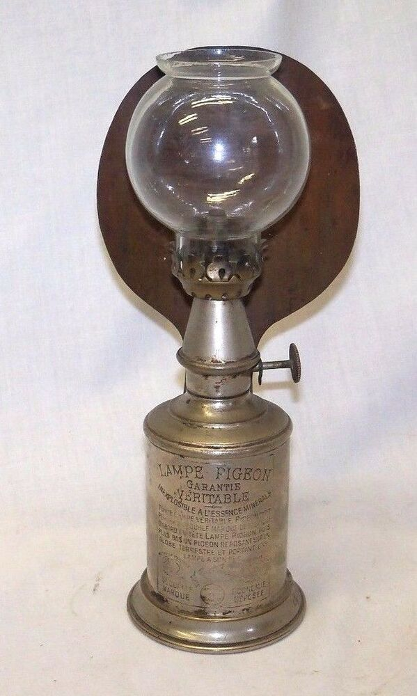 Antique French LAMPE PIGEON Nickel Oil Lamp W Brass Reflector Shade