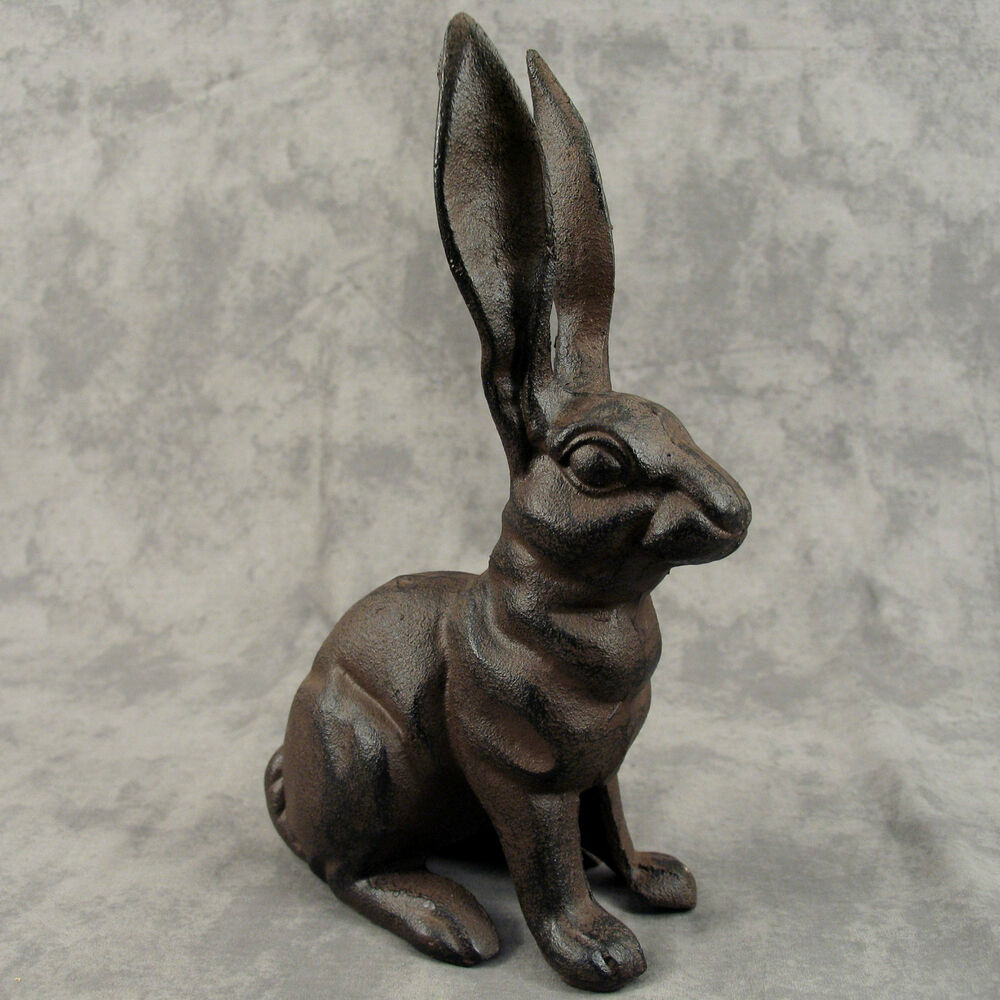 French Country Rabbit Cast Iron Doorstop Statue Tall