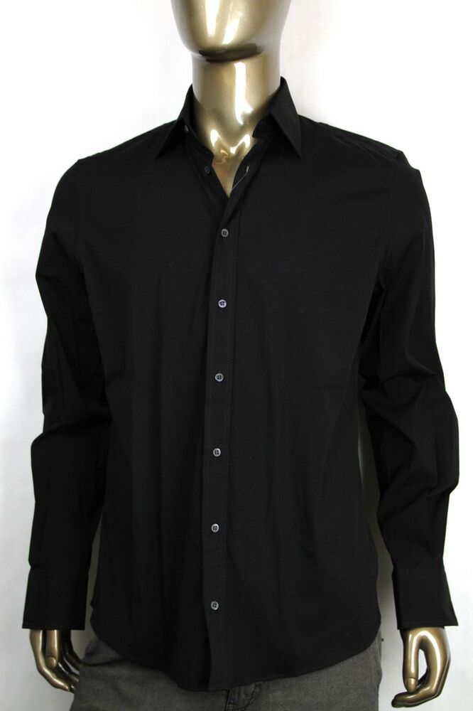 New gucci mens fitted cotton elastane button down dress for Mens black button down shirt