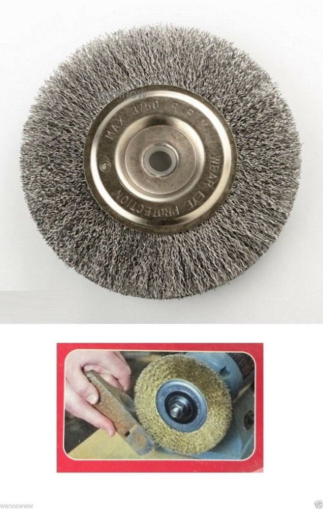 6 Quot Inch Round Wire Brush Wheel For Bench Grinder Ebay