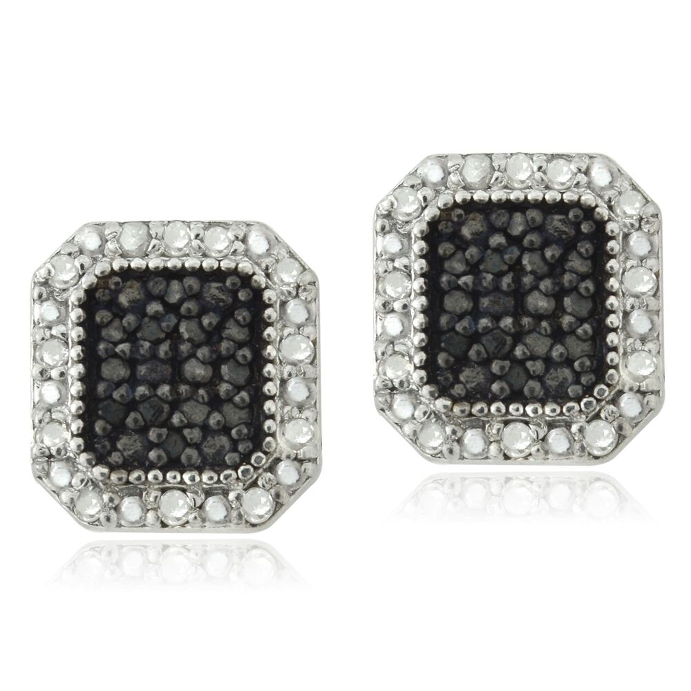 2ct black earrings 925 sterling silver 1 2ct black white square 8984
