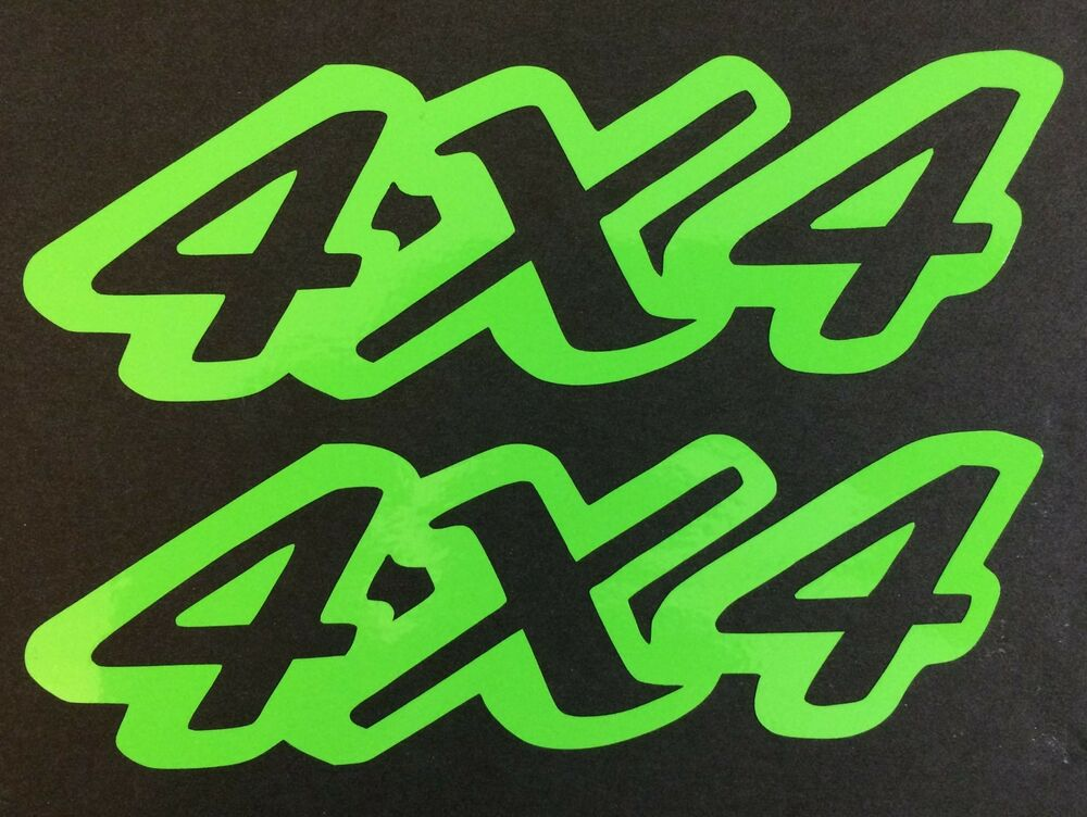 2 New Lime Green 4x4 4wd Ford Chevy Dodge Toyota Gmc Decal
