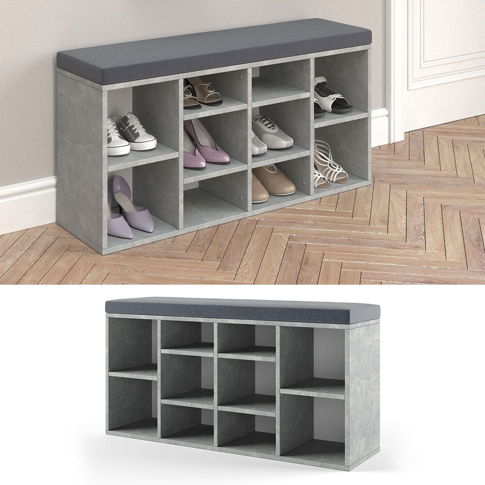 schuhschrank schuhbank schrank bank regal 10 paar schuhe auflage sitzbank beton ebay. Black Bedroom Furniture Sets. Home Design Ideas