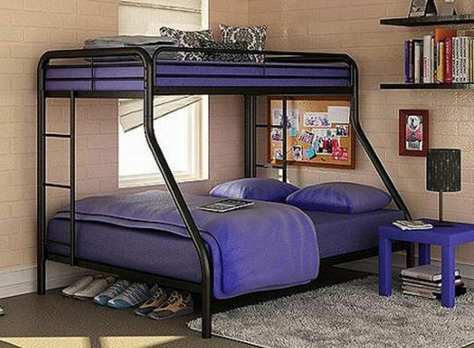 Twin Over Full Bunk Beds Metal Bunkbeds Kids Teens Dorm Bedroom Furniture EBay