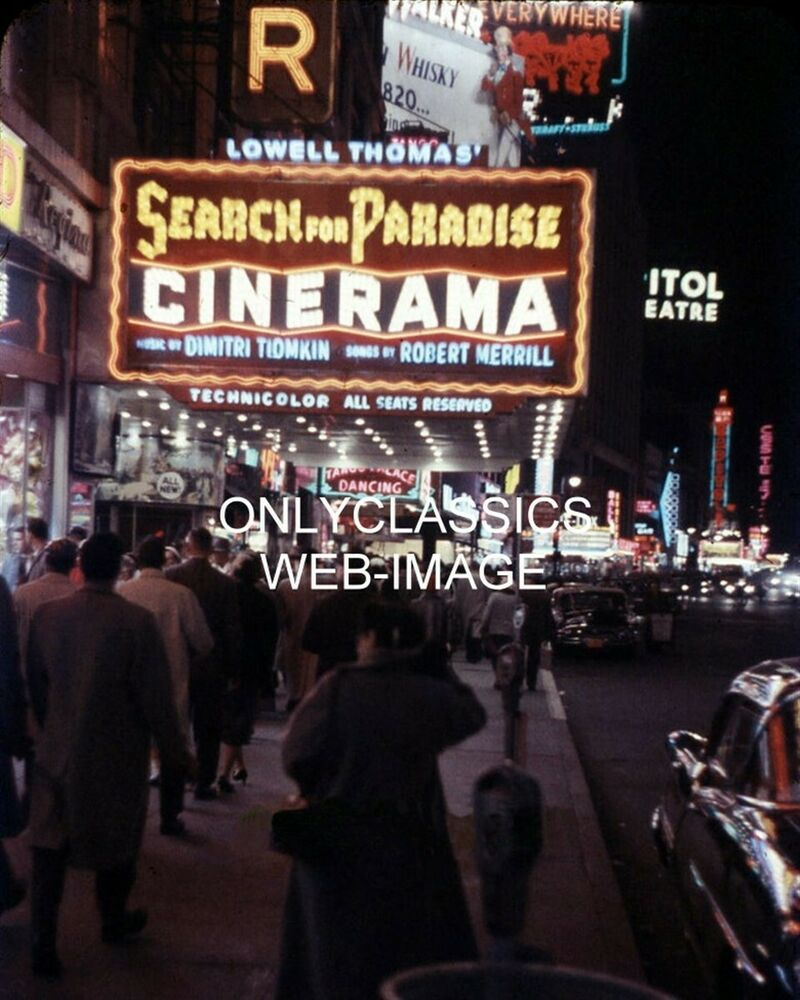 1958 WARNER CINERAMA MOVIE THEATER MARQUEE TIMES SQUARE