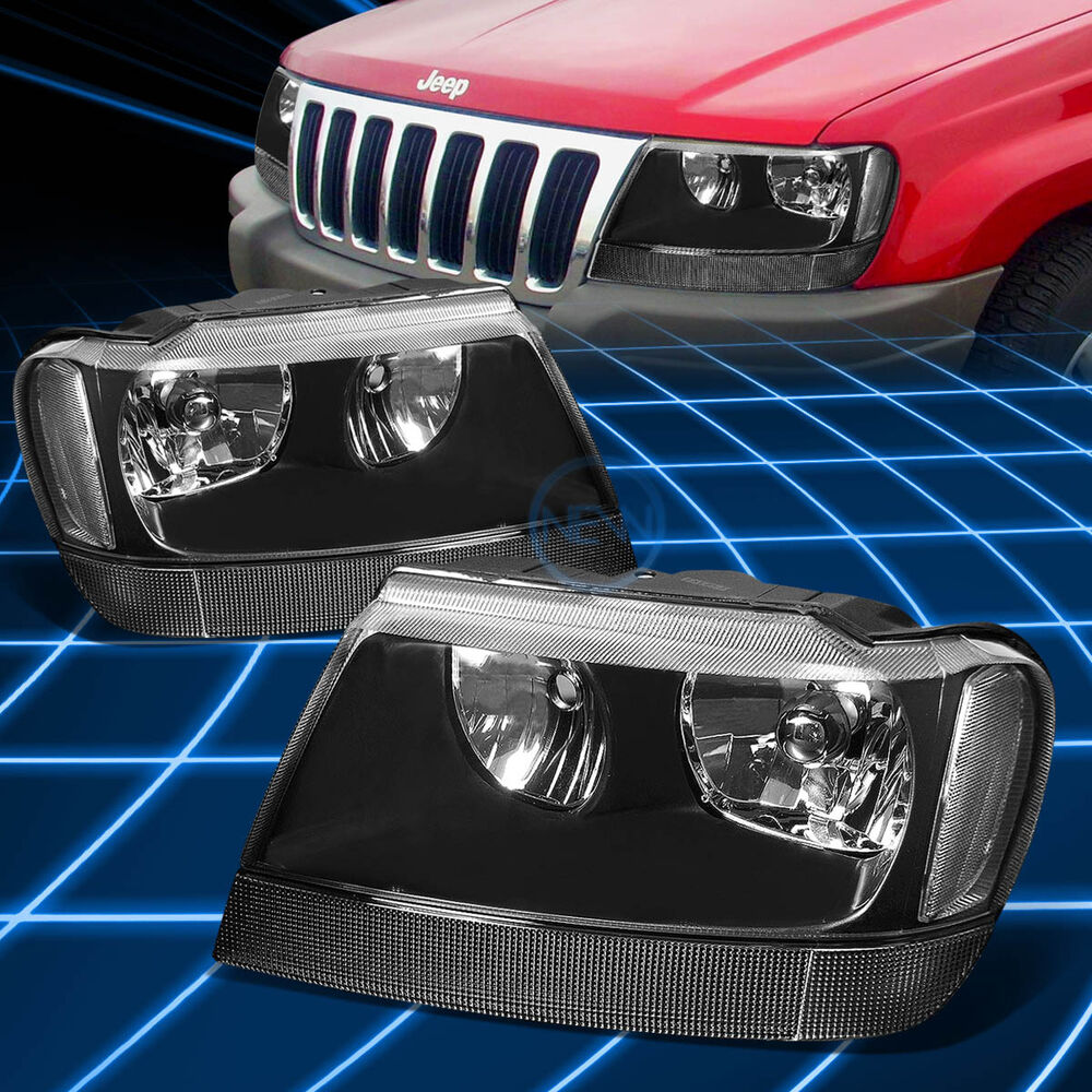 Fit 1999 2004 Jeep Grand Cherokee Wj Black Clear Corner Housing Headlights Ebay