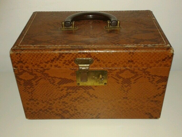 vintage vanity train case tan snakeskin print box luggage steampunk ebay. Black Bedroom Furniture Sets. Home Design Ideas