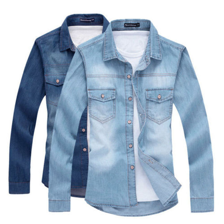 3cf83270db Details about Fashion Men Casual Slim Fit Denim Shirt Casual Jeans Luxury  Stylish Wash Shirts