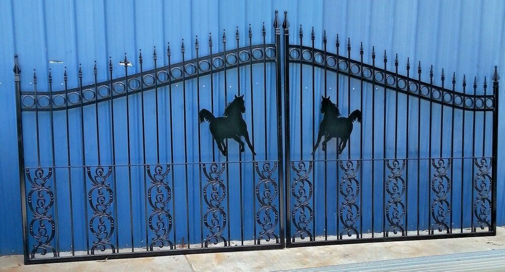 Wrought iron driveway entry gate ft wide double swing
