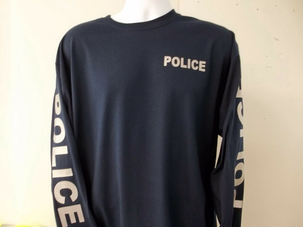 Police reflective long sleeve t shirt both sleeves ebay for Print photo on shirt