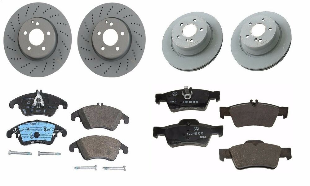 New mercedes benz e350 2010 2015 set of front and rear for Brake pads mercedes benz