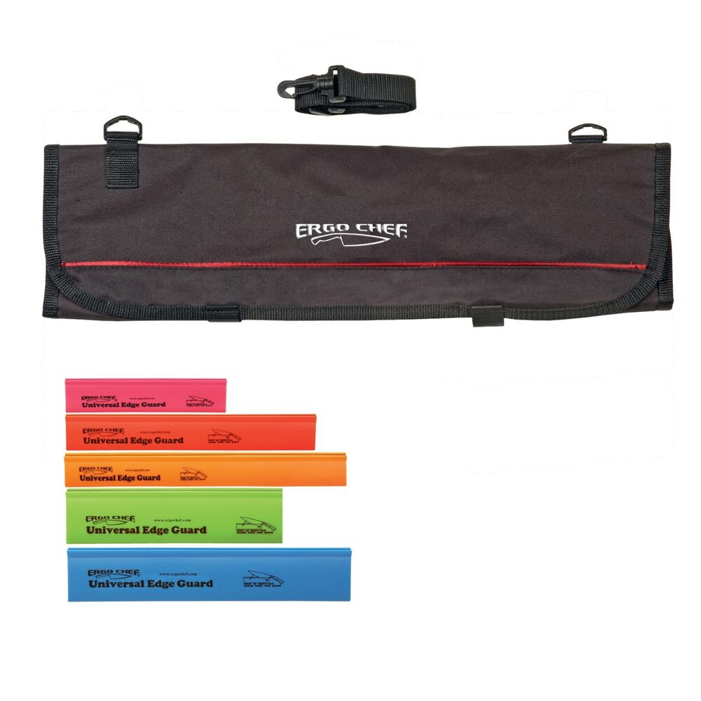 9 pocket chef knife case roll bag with 5 pack edge guards ebay. Black Bedroom Furniture Sets. Home Design Ideas