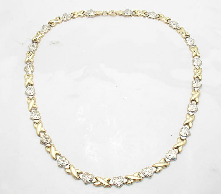 Hearts And Kisses Bracelet: Diamond Cut Hearts & Kisses Chain Necklace Real 14K Yellow