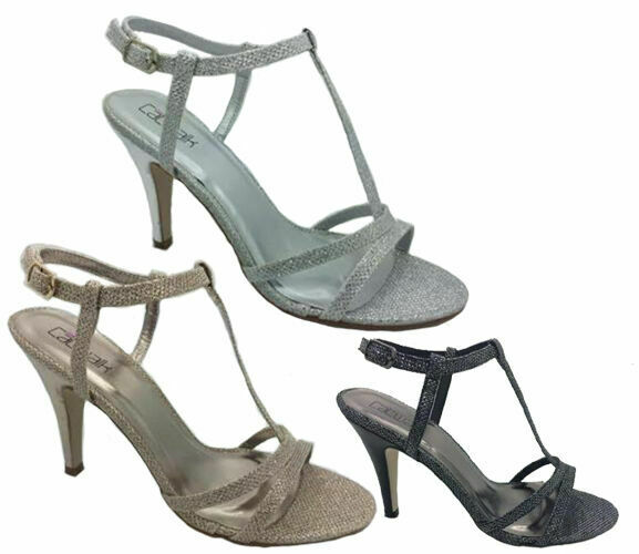e37a3041024ac0 Ladies Shoes Catwalk Arion Black Gold Silver Strappy Lurex Heels Sandals  6-10