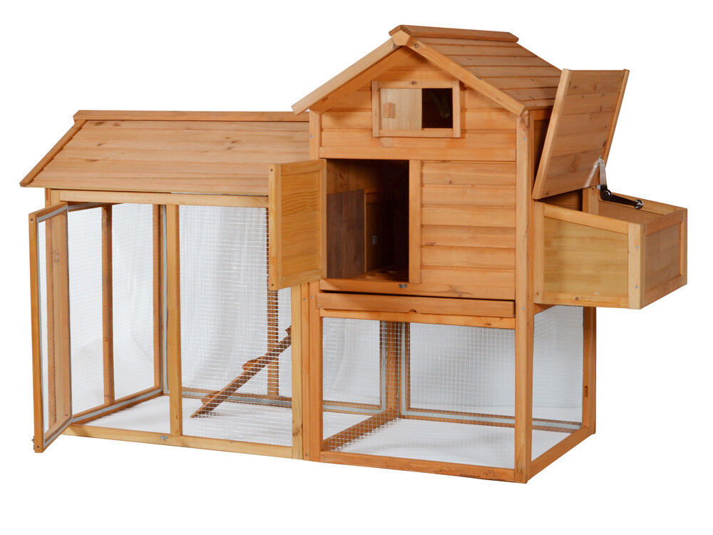 Portable wooden rabbit hutch deluxe hen house chicken coop for Portable hen house